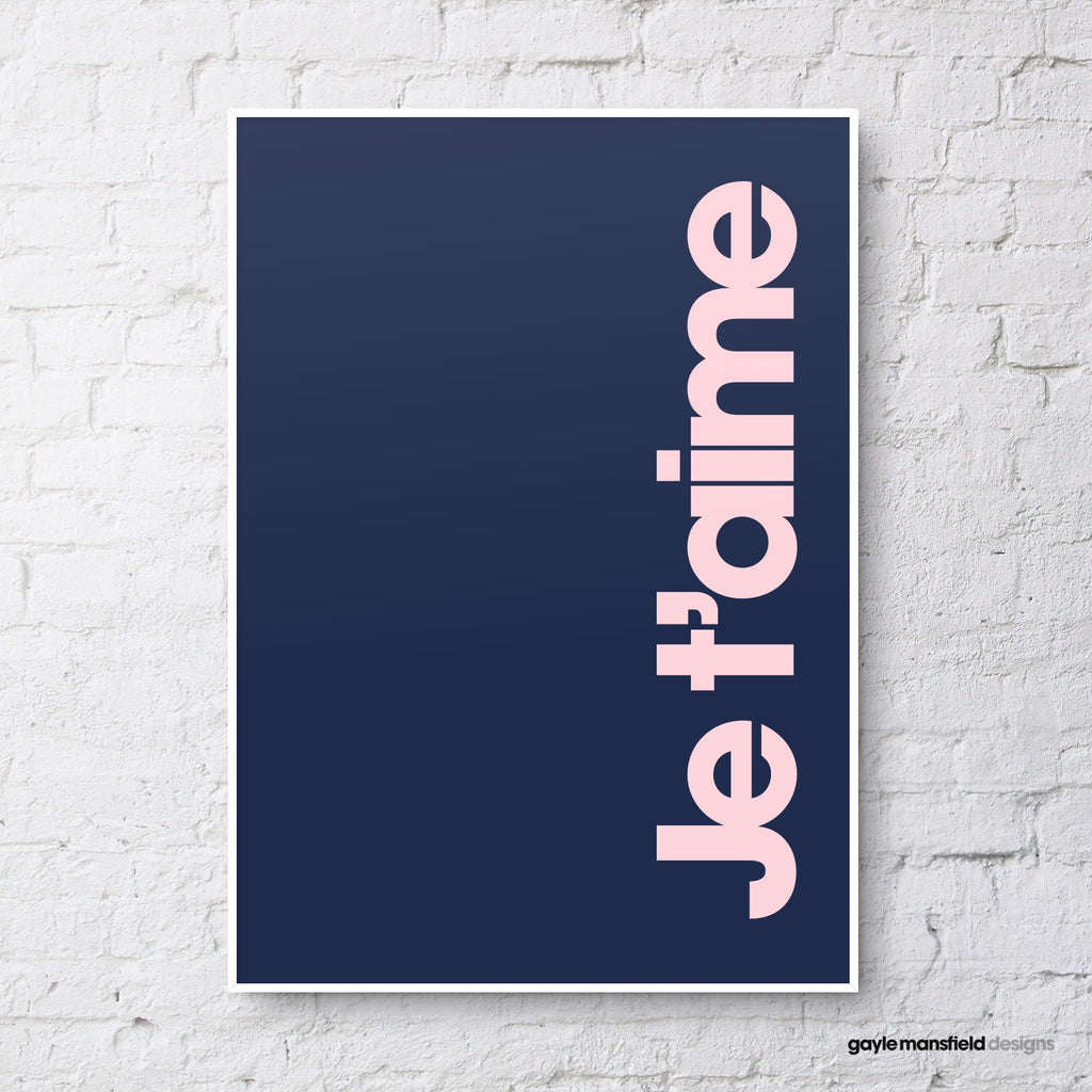 Je t'aime (blush pink on navy)