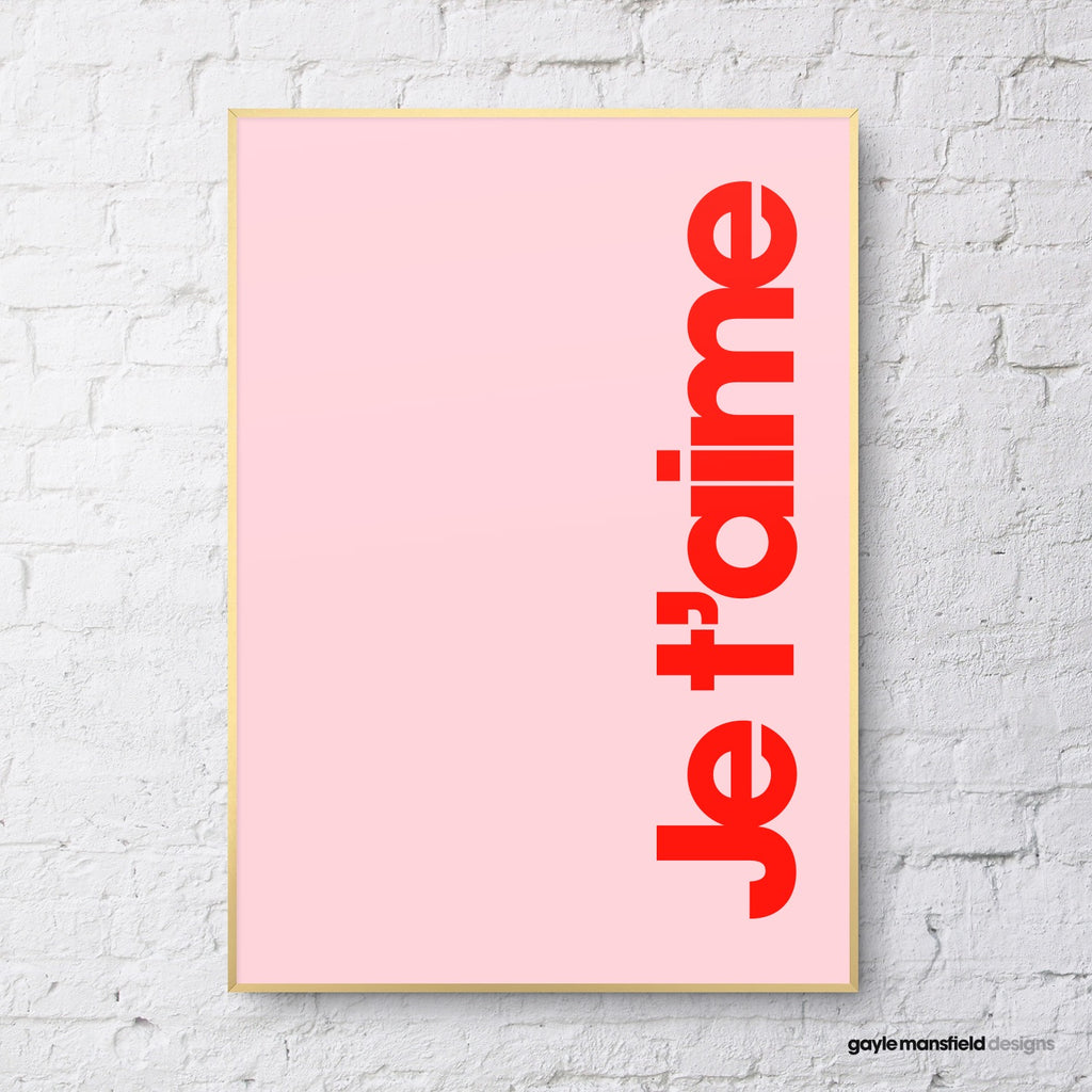 Je t'aime (red on pink)