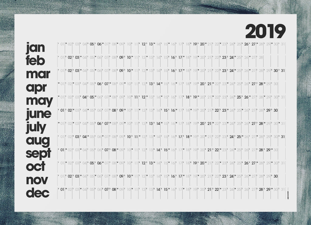 2019 year planner (pale grey)