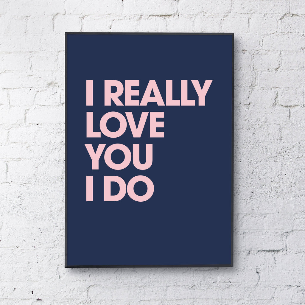 I really love you (pink on navy)