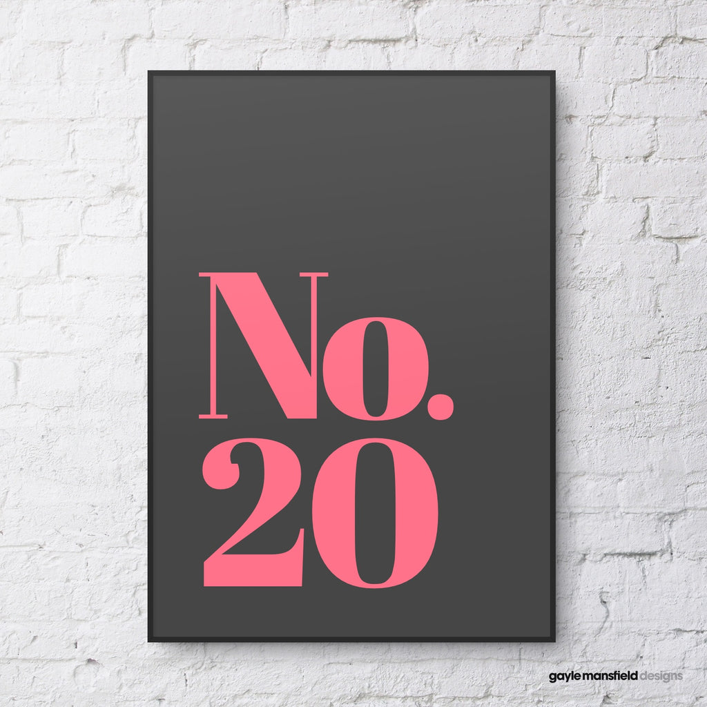 House Number - classic (pink on black)
