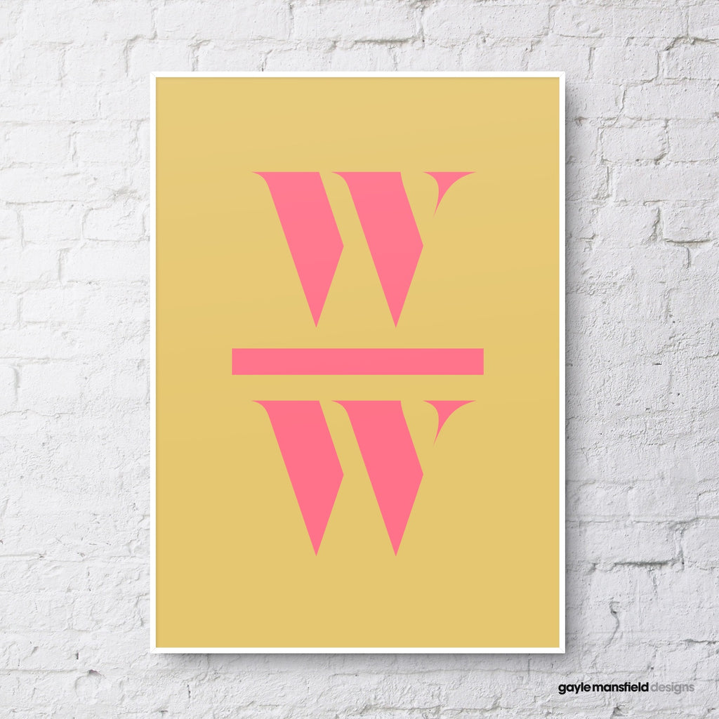 antique digit/letter (pink on mustard)