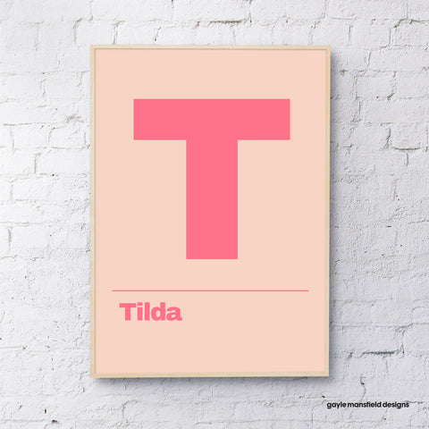 Letter ( coral/pink - personalised)