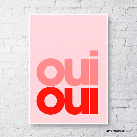 Oui oui (red on pale pink)