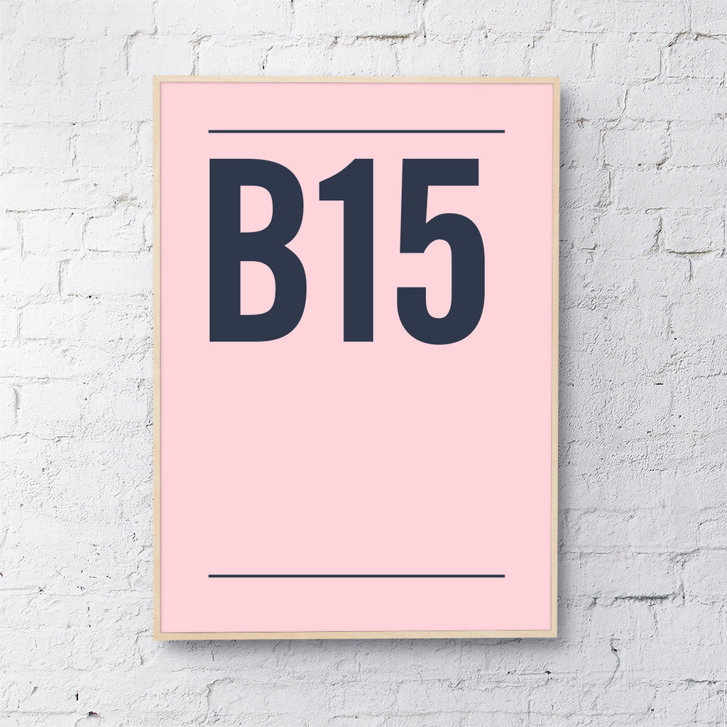 Postcode (navy on blush pink)