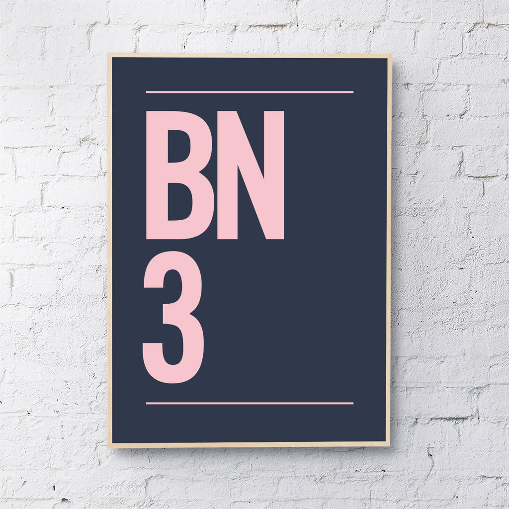 Postcode (blush pink on navy)