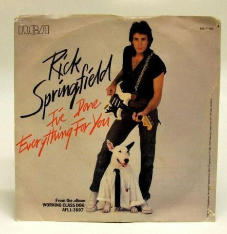 Rick Springfield I've Done Everything For You 45 Picture Sleeve - redrum comics
