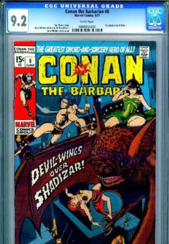 Conan the Barbarian #6 White Pages 1971 CGC 9.2 NM- - redrum comics