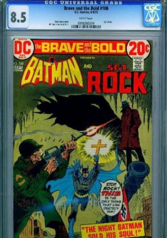 Brave and the Bold #108 White Pages 1973 CGC 8.5 VF+ Batman Sgt Rock - redrum comics