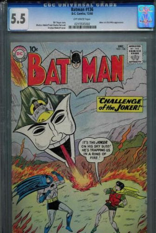 Copy of Batman #136 CGC 5.5 Fine- 1960 DC Comics Joker Sky Sled Bat-Mite