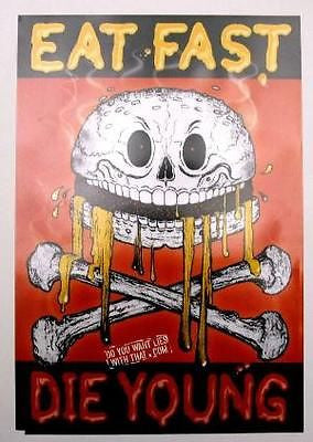 FAST FOOD NATION Movie Eat Fast Die Young HTF Promo Poster Skull and Bones - redrum comics