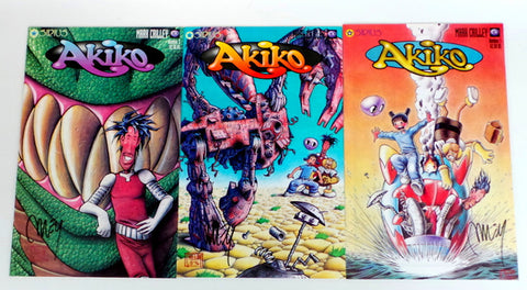 Akiko on the Planet Smoo #1 2 3 SIGNED by Mark Criley set lot run Sirius