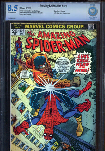 The Amazing Spider-Man #123 VS Luke Cage CBCS 8.5 VF+ 1973 Marvel Not CGC - redrum comics