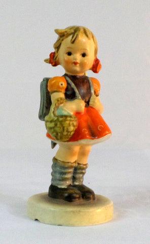 "Vintage Hummel 4"" Figurine: Orange Dress School Girl w Basket and Back-Pack - redrum comics"