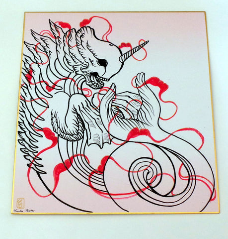 "Candie Bolton Bake-Kujira 11"" x 9.5"" Original Art Ink Drawing"