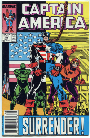 Captain America #345 NM 1988 Super Patriot Parents Die, Captain America kills - redrum comics