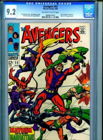 The Avengers #55 Crimson Cowl 1st Ultron 1968 CGC 9.2 NM- Marvel Comics Iron Man - redrum comics