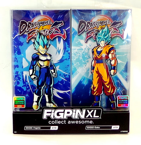 FiGPiN XL Dragon Ball FighterZ SSGSS Vegeta & Goku 2-pack SDCC Shared Exclusive