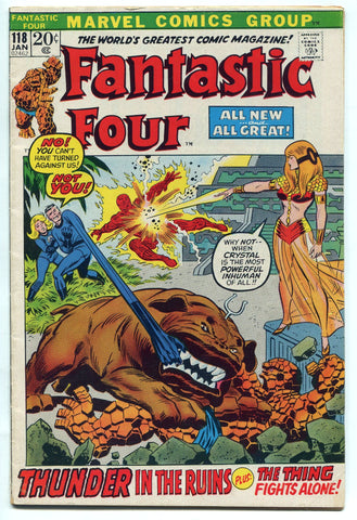 Fantastic Four #118 VG/Fine 1972 Marvel Comics Inhumans Lockjaw Crystal