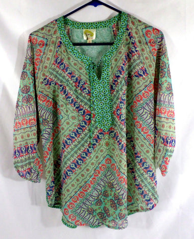 Fig and Flower Anthropologie Bohemian Style Women's Blouse Size Small