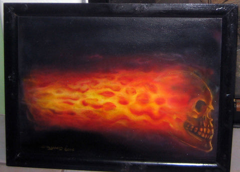Airbrushed Flaming Skull on Fire on Canvas Board with Black Background and Frame - redrum comics