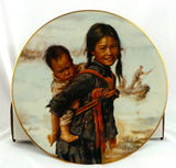 GIRL WITH LITTLE BROTHER collector plate KEE FUNG NG Children of Aberdeen