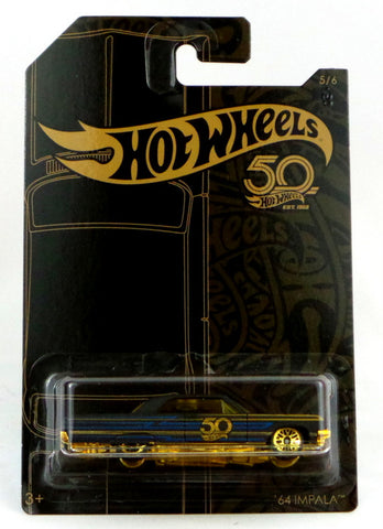 Hot Wheels 50th Anniversary Black and Gold #5 '64 Impala 2018