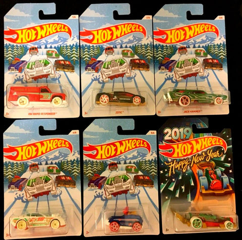2018 Hot Wheels Holiday Hot Rod Christmas Set & 2019 Happy New Year Carbonator