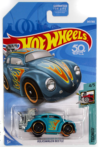 Hot Wheels VOLKSWAGEN BEETLE Blue with Flames Tooned 4/5 #347