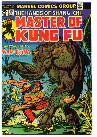 Shang-Chi MASTER OF KUNG FU #19 VF High Grade 1974 vs The Man-Thing