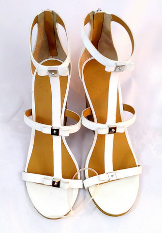 Marc by Marc Jacobs T-Strap White Leather Wedge Sandal With Bows Size 7 US