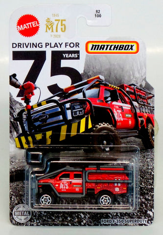 Matchbox 75th Ford F-350 superduty forest fire truck die-cast metal toy car MIP