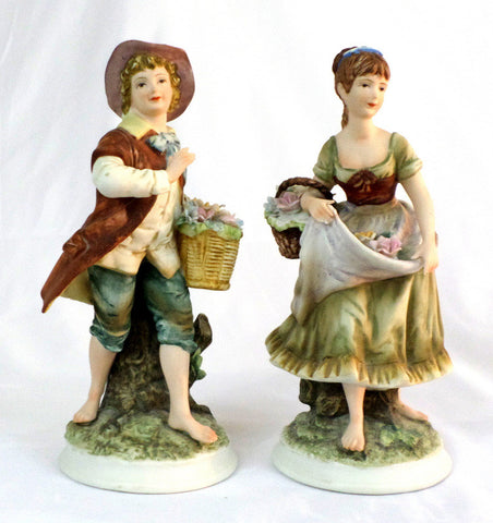 Andrea by Sadek Vintage 80's Porcelain Boy/Girl with Flower Baskets Figures 8260