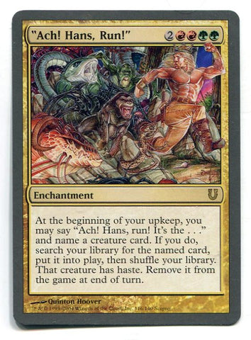Magic the Gathering Ach! Hans, Run! x1 Unhinged Unplayed Rare Card MTG - redrum comics