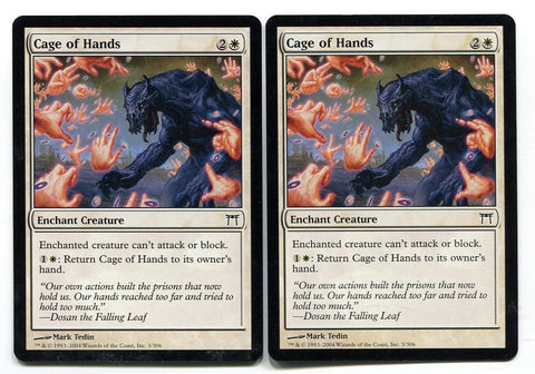 Magic the Gathering Cage of Hands x2 Champions of Kamigawa Unplayed Common MTG - redrum comics