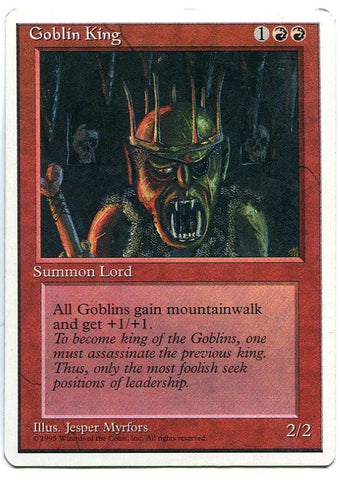 Magic the Gathering Goblin King x1 4th Edition Light Play Rare Card MTG - redrum comics