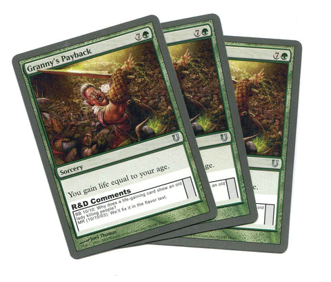 Magic the Gathering Granny's Payback x3 Unhinged Unplayed UnCommon MTG - redrum comics