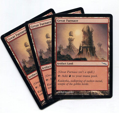 Magic the Gathering Great Furnace x3 Mirrodin Unplayed Common MTG - redrum comics