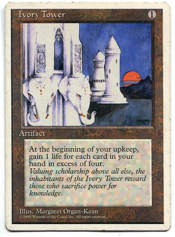 Magic the Gathering Ivory Tower x1 4th Edition Light Play Rare Card MTG