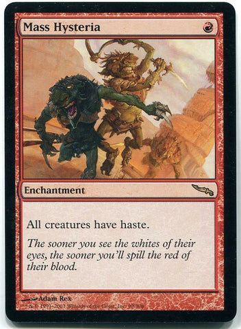 Magic the Gathering Mass Hysteria x1 Mirrodin Unplayed Rare Red Card MTG - redrum comics