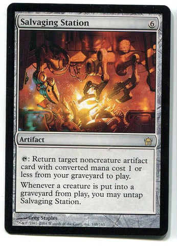 Magic the Gathering Salvaging Station x1 Fifth Dawn Unplayed Rare Card MTG