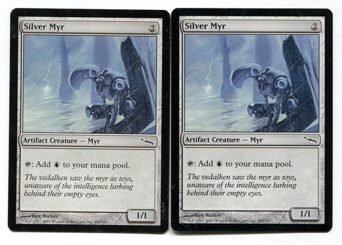 Magic the Gathering Silver Myr x2 Mirrodin Unplayed Common