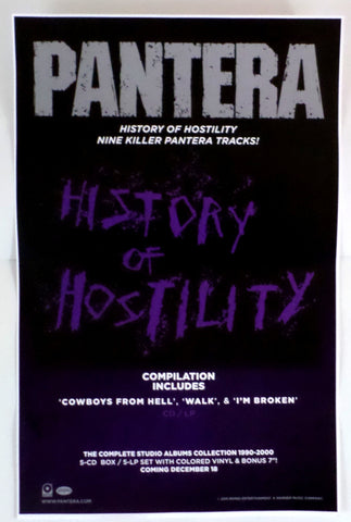 "Pantera History of Hostility 11"" x 17"" promotional poster New Never Used - redrum comics"