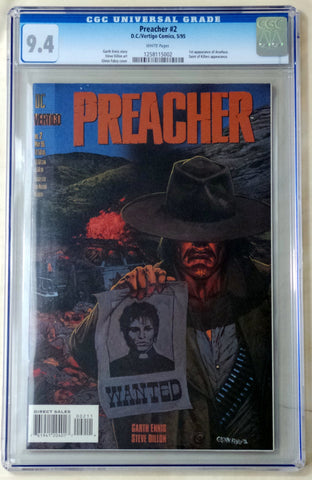Preacher #2 1st Arseface CGC 9.4 Near Mint DC Vertigo Garth Ennis AMC TV - redrum comics