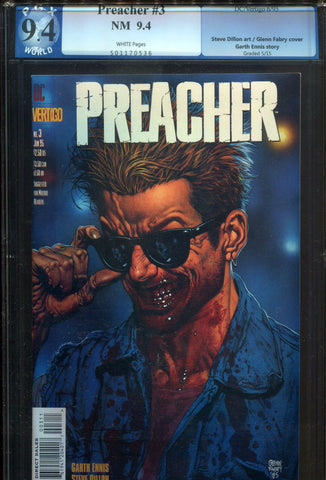 Preacher #3 PGX 9.4 NM 1995 DC Vertigo Garth Ennis Steve Dillon AMC TV Not CGC - redrum comics