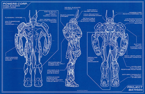 "DC Comics Project Batman Batsuit Powers Corp Blueprint 11"" x 17"" Promo Poster"