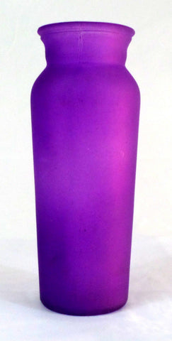 Purple 7 1/2 inch Frosted Glass Vase Home Decor - redrum comics