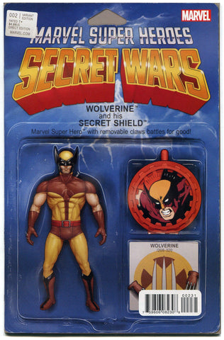 Secret Wars #2 Wolverine Action Figure Variant Cover VF 2015 X-Men Avengers - redrum comics