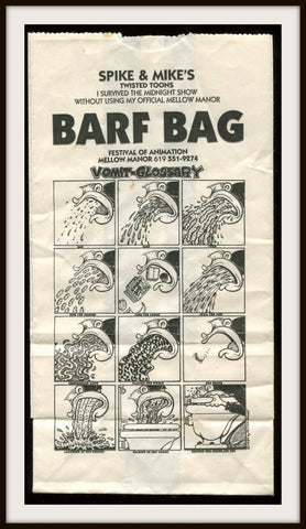 Peter Bagge Spike and Mike Sick and Twisted Original Barf Bag Vomit Glossary - redrum comics