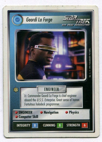 Star Trek CCG TCG Premiere WB Unlimited Geordi La Forge Card LeVar Burton